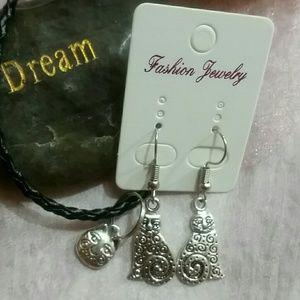 laurel Burch  cat earring dangle w bracele…